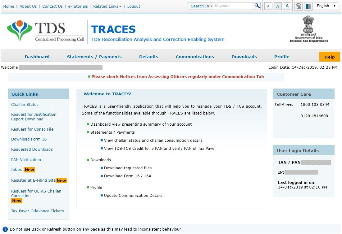 TRACES Welcome Page - Deductor TDS Services