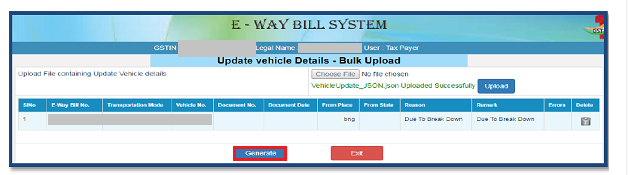 e-Way Bill - Generate Option