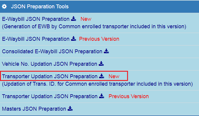 e-Way Bill - JSON Preparation Tools