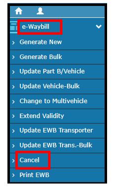 e-Way Bill Portal - Cancel EWB