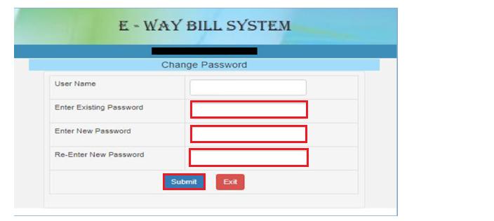 e-Way Bill Portal - Change Password Page