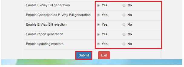 e-Way Bill Portal - Functions of sub-user