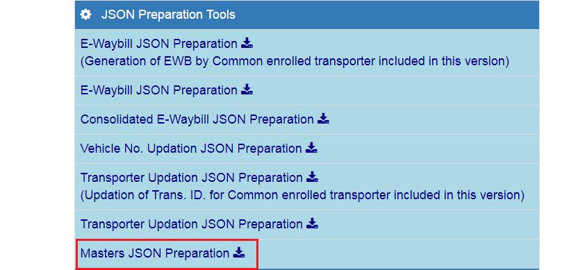 e-Way Bill Portal - JSON Preparation Tools