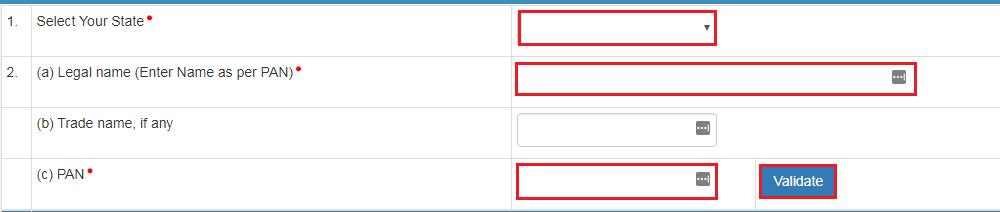 e-Way Bill Portal - Personal Details