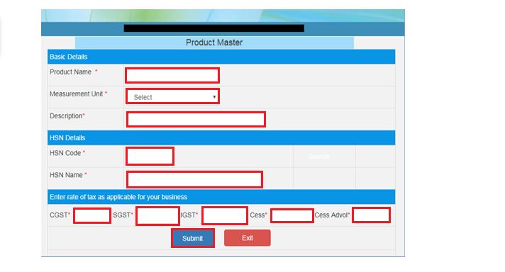 e-Way Bill Portal - Product Master