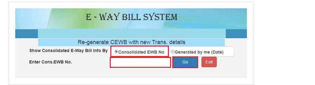 e-Way Bill Portal - Regenerate Consolidated EWB