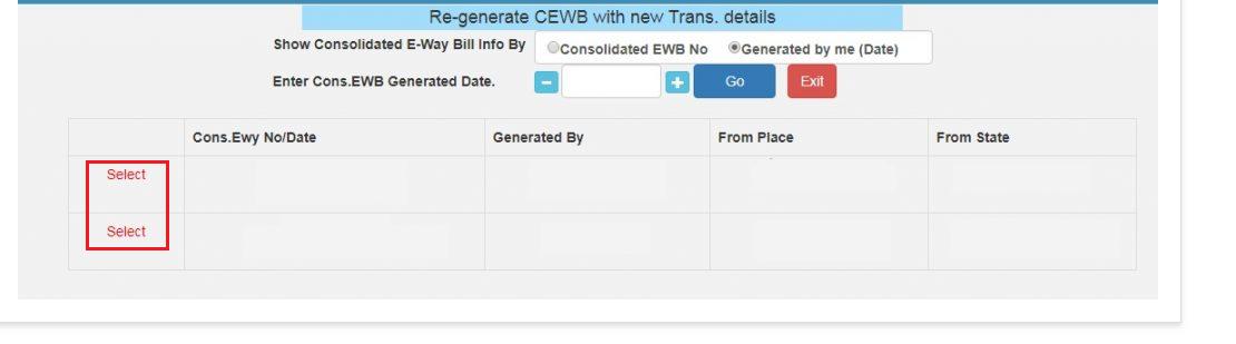 e-Way Bill Portal - Select Consolidated EWB