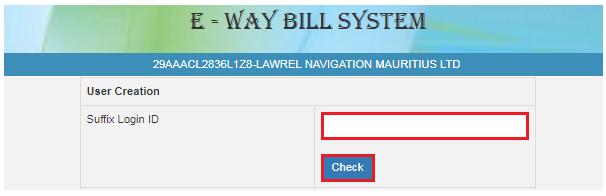 e-Way Bill Portal - Sub-User Name