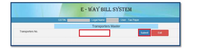 e-Way Bill Portal - Transporter Number