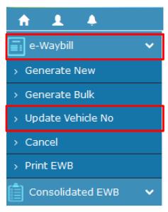 e-Way Bill Portal - Update Vehicle Number Option