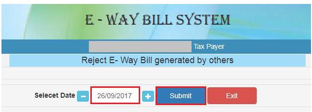 e-Way Bill - Reject EWB Page
