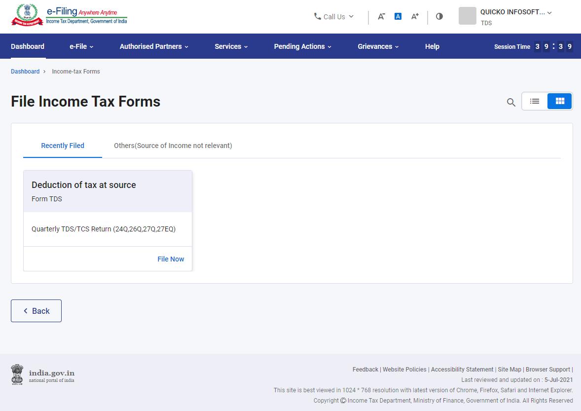 www.incometax.gov.in - TDS Form