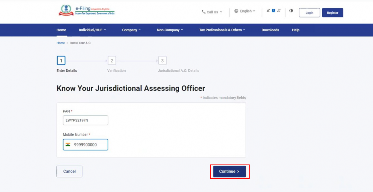 www.incometax.gov.in - Know Your Jurisdictional Assessing Officer