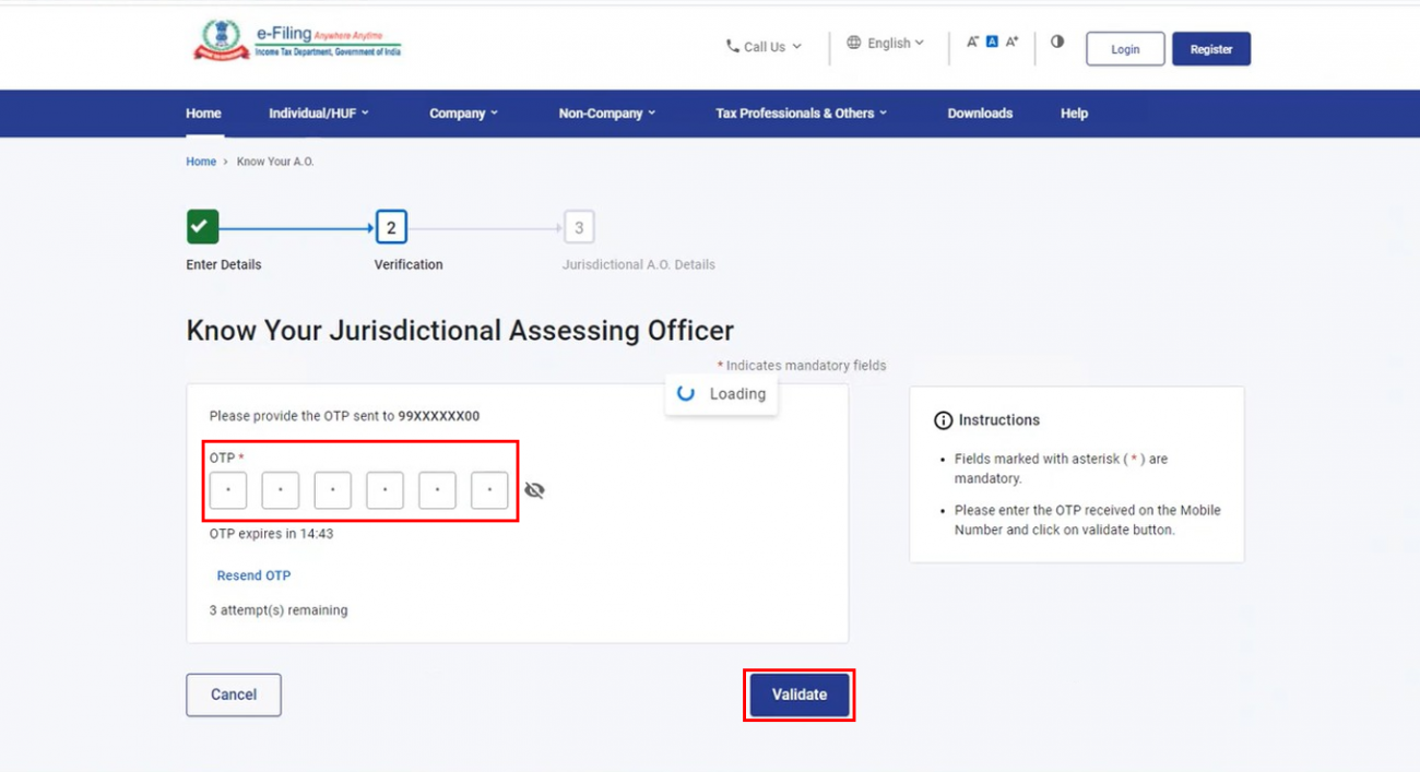 www.incometax.gov.in - AO OTP Verification