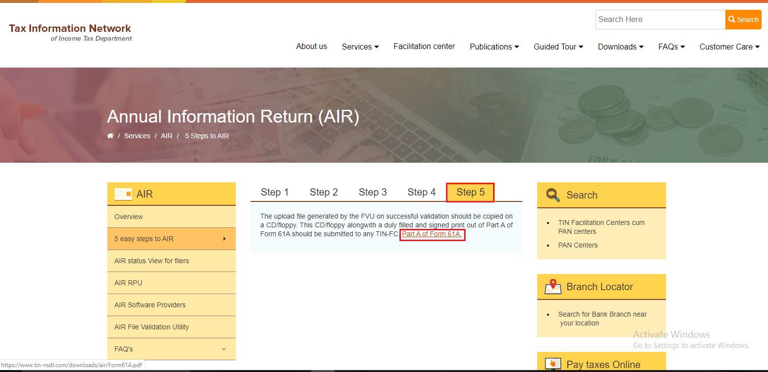 AIR Form 61A