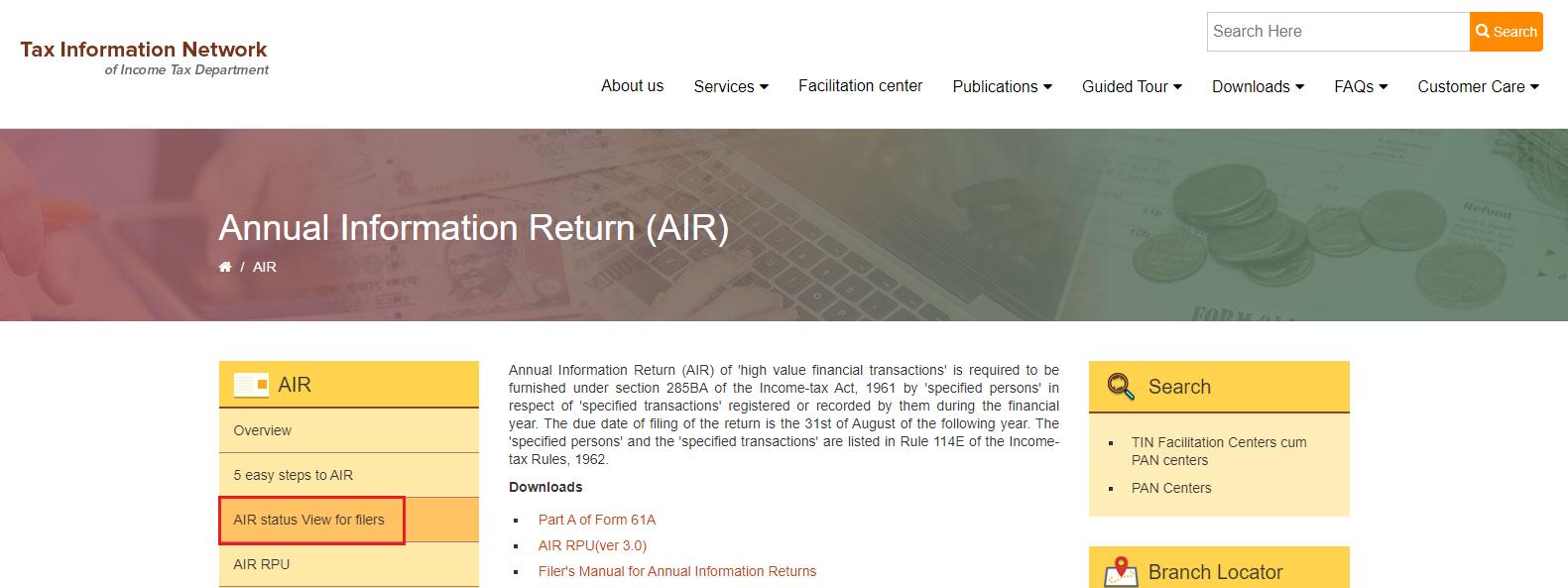 AIR status view for filers