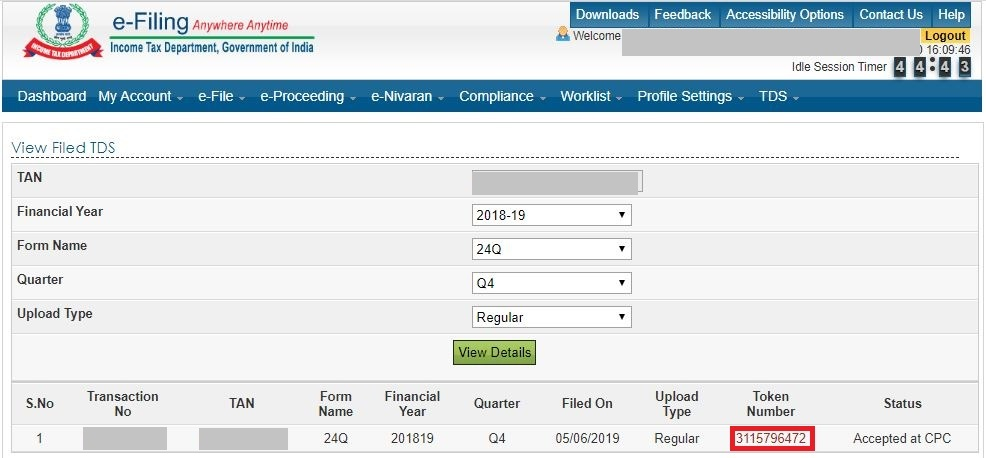 Income Tax e-Filing Portal - Token Number