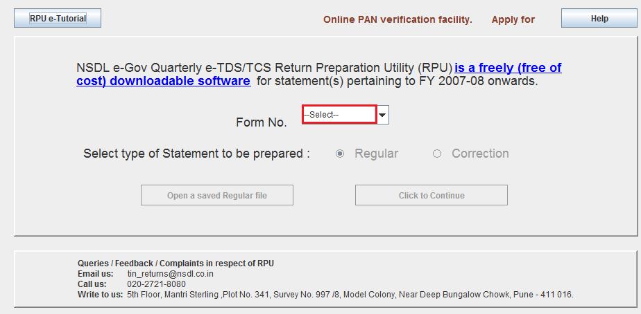 RPU Form Number