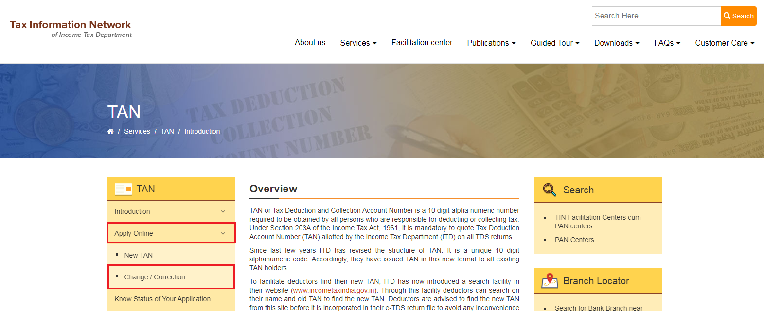 TIN-NSDL - Change or Correction TAN Option