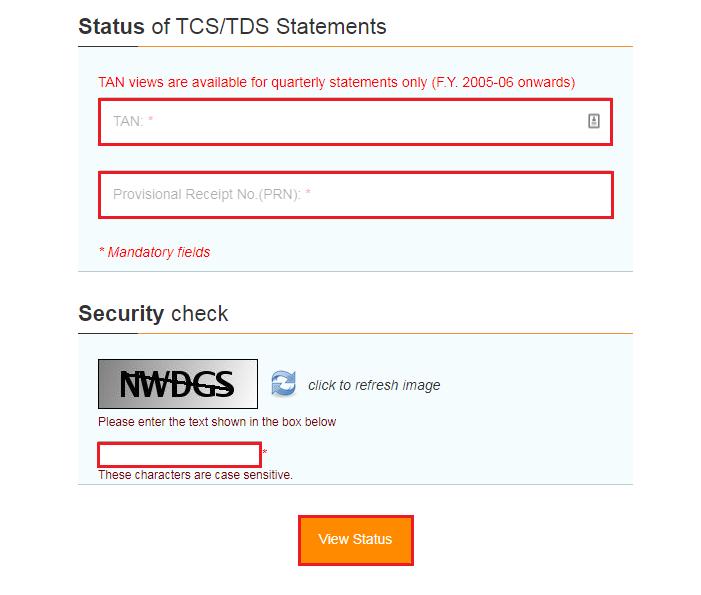 TIN-NSDL - Status of TDS or TCS Statement