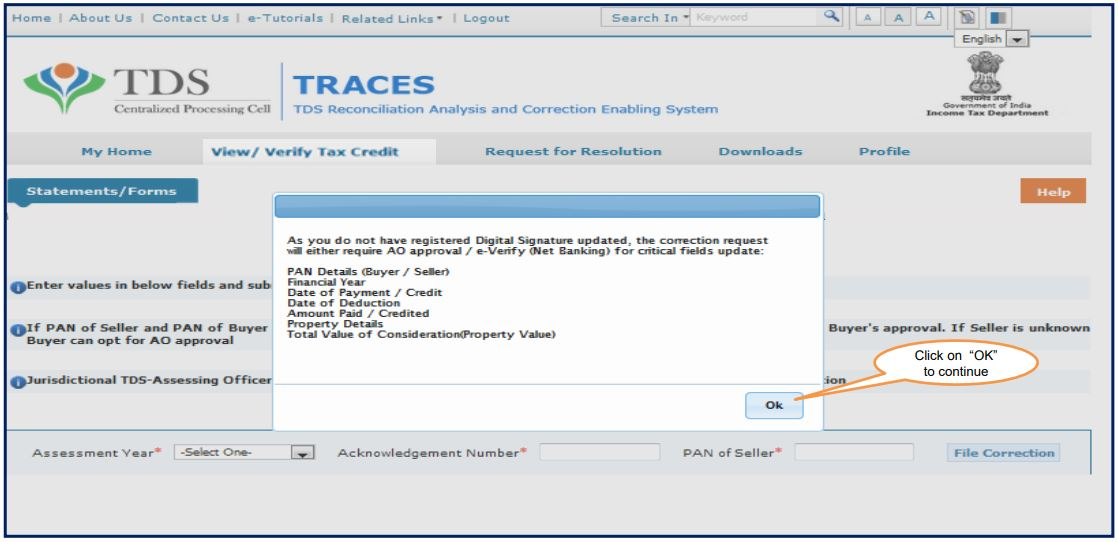 TRACES - Form 26QB Correction - AO Approval for Correction