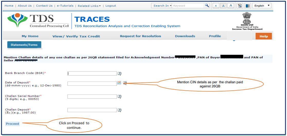 TRACES - Form 26QB Correction - Enter Challan Details
