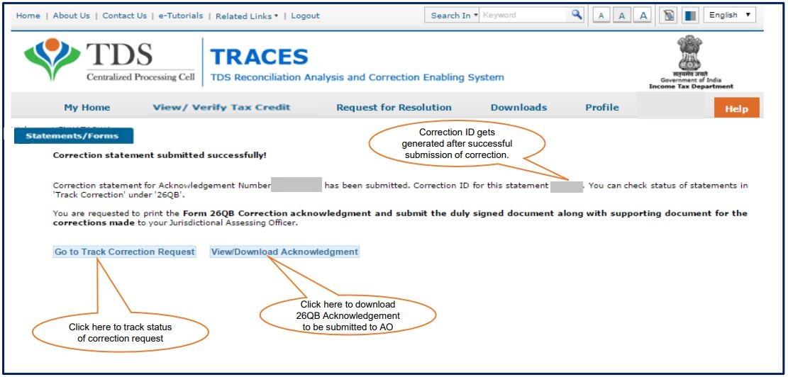 TRACES - Form 26QB Correction Request - Request Number