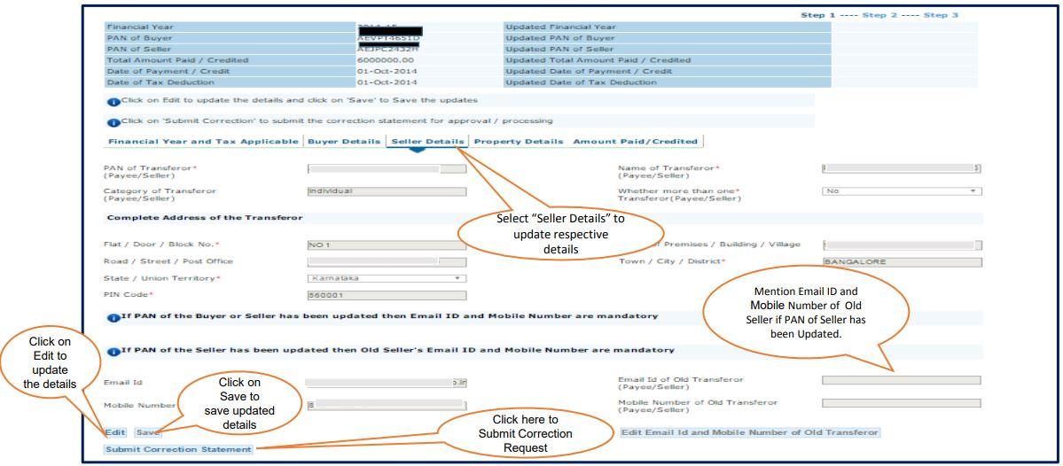 TRACES - Form 26QB Correction Request - Seller Details