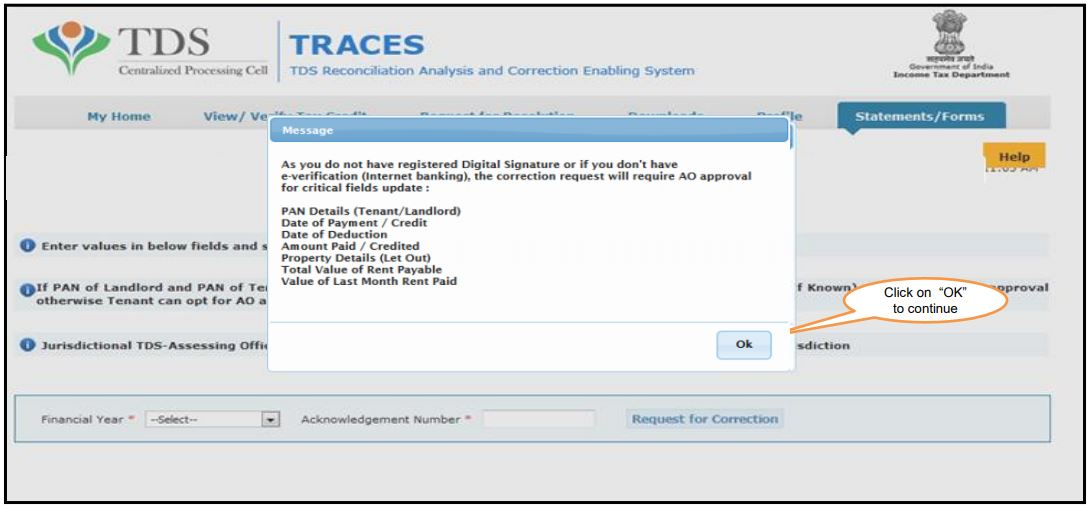 TRACES - Form 26QC Correction - AO Approval for Correction