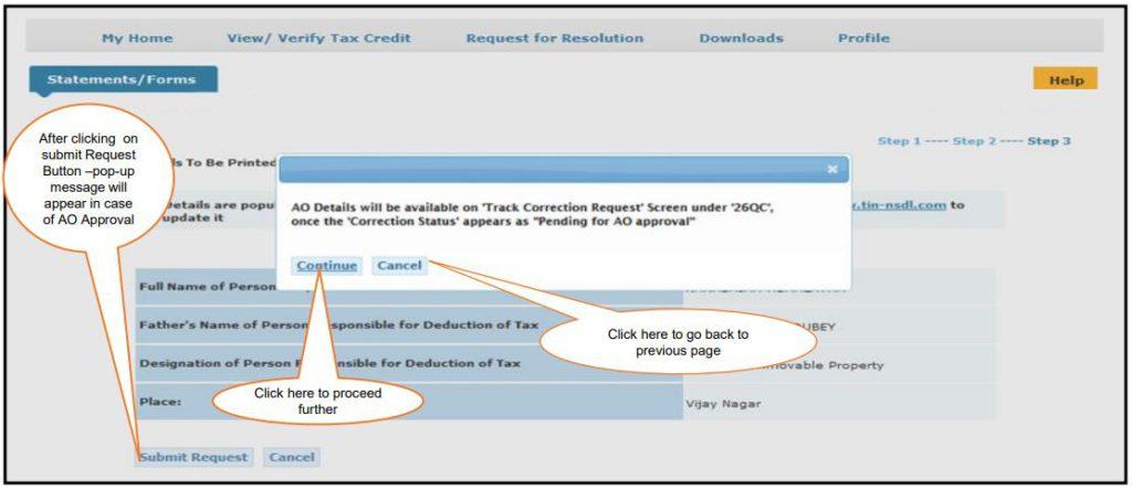 TRACES - Form 26QC Correction - AO Details