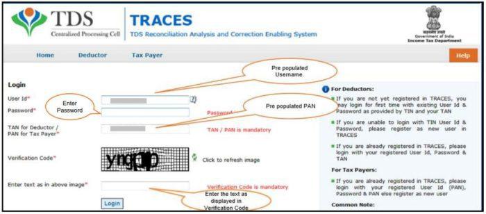 TRACES - Form 26QB / 26QC Correction E-Verify - Login to TRACES