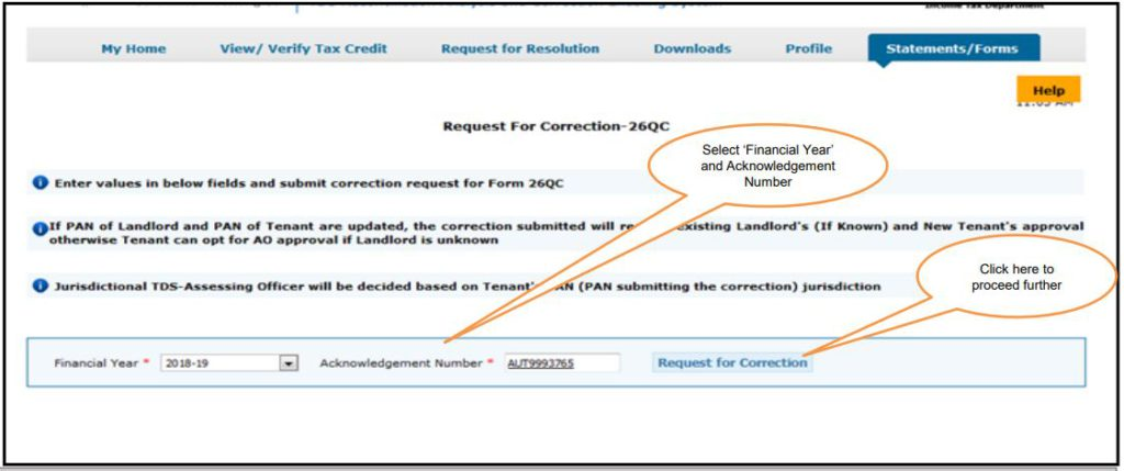 TRACES - Form 26QC Correction - Enter Financial Year and Acknowledgement Number
