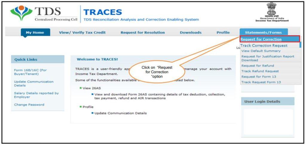 TRACES - Form 26QC Correction - Navigate