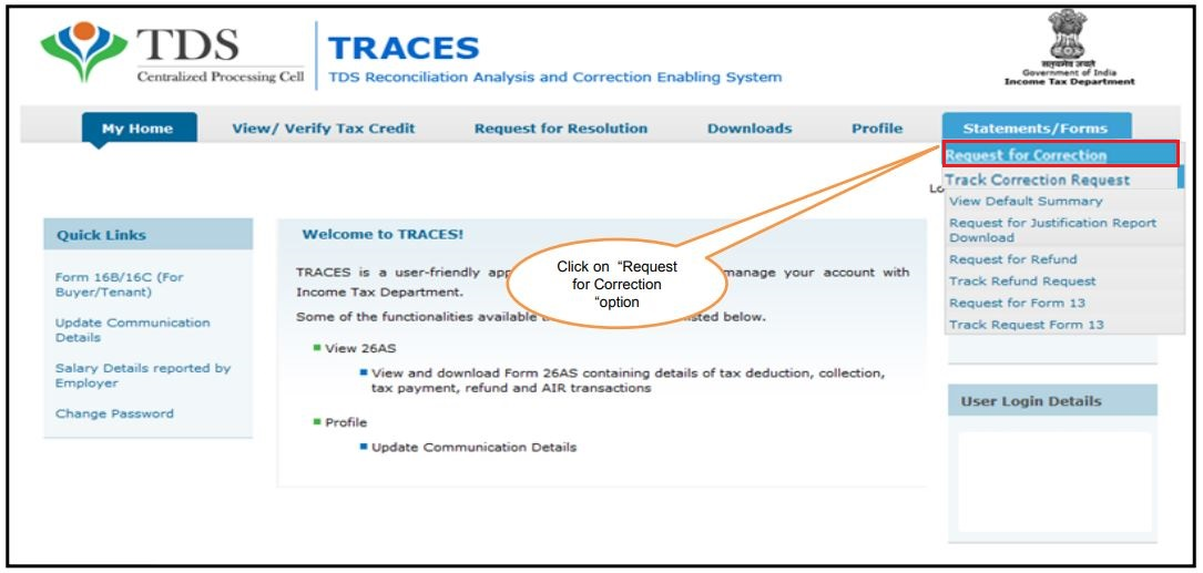 TRACES - Form 26QB, 26QC Correction - Navigate