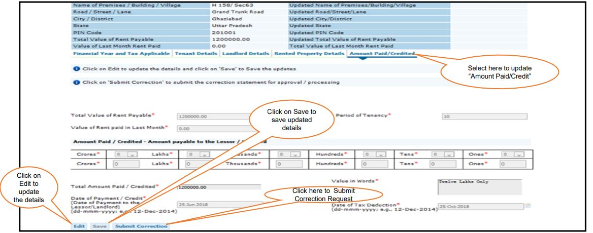 TRACES - Form 26QC Correction Request - Amount Paid or Credited Details
