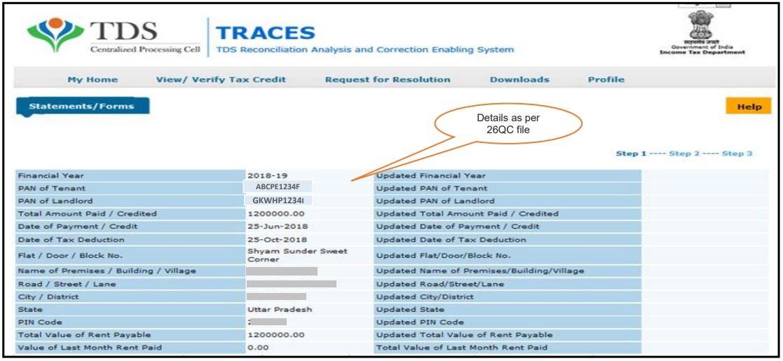 TRACES - Form 26QC Correction Request - Form 26QC filed details