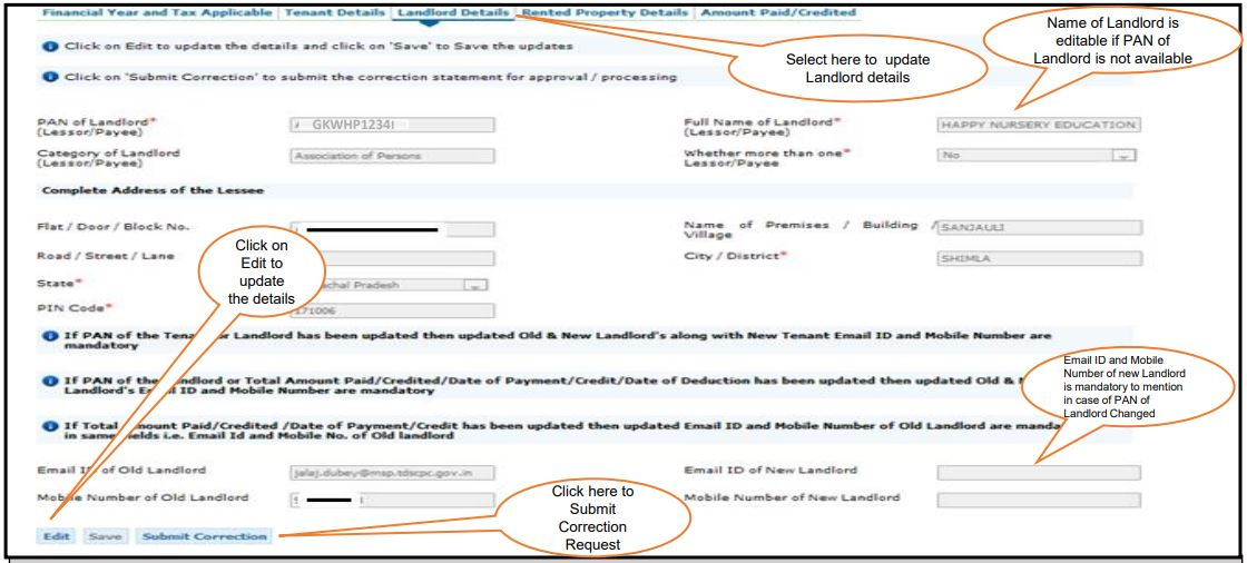 TRACES - Form 26QC Correction Request - Landlord Details