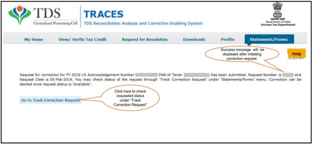 TRACES - Form 26QC Correction Request - Request Number
