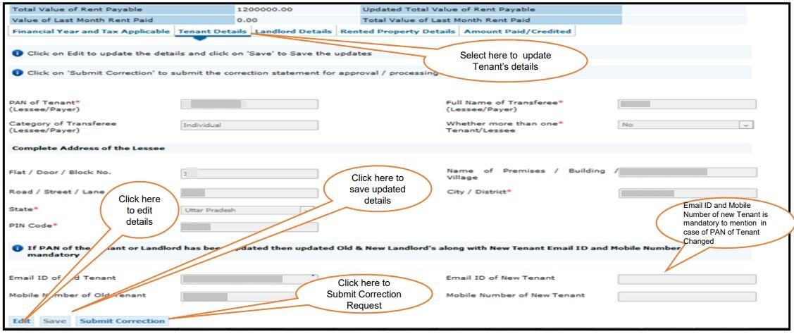 TRACES - Form 26QC Correction Request - Tenant Details