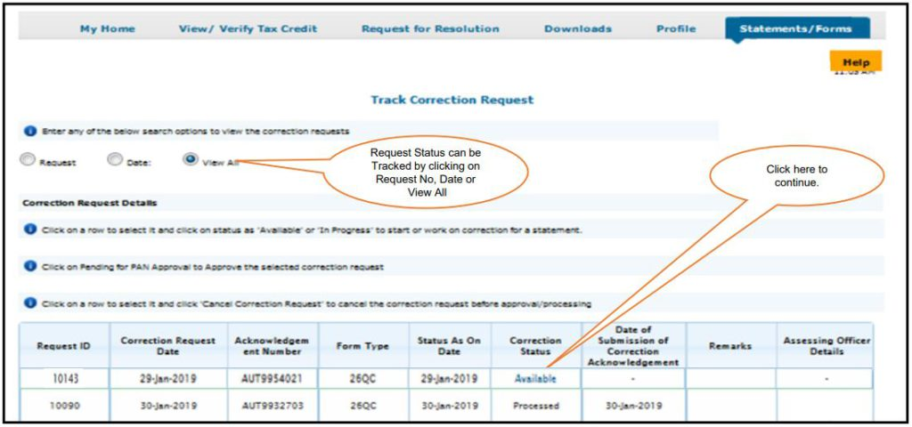 TRACES - Form 26QC Correction - Search using Request Number