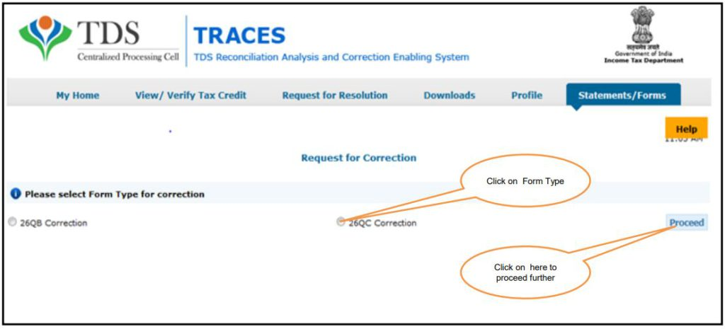 TRACES - Form 26QC Correction - Select Form Type