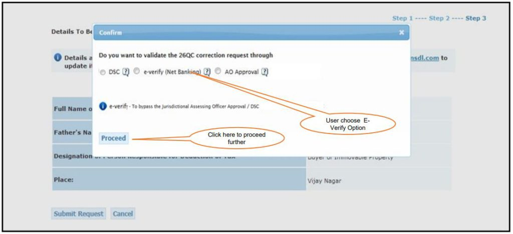 TRACES - Form 26QC Correction - Validate Correction Request