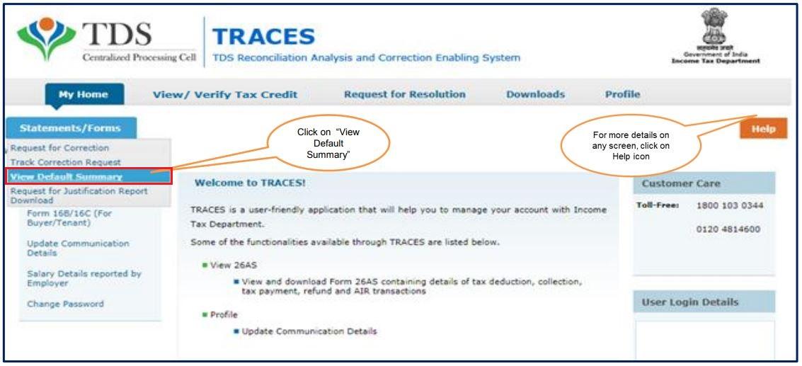 TRACES - Form 26QC Default Summary - Navigate