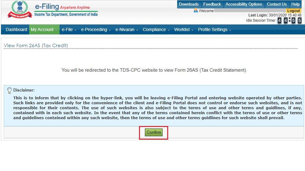 confirm e-filing 26as