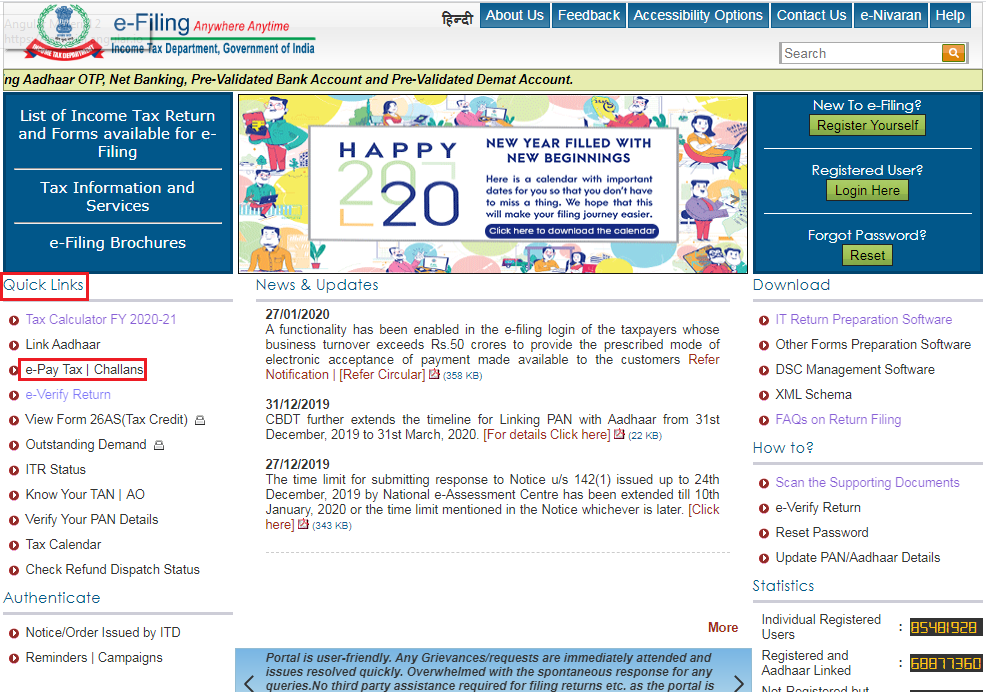 Income Tax e-Filing Portal - Homepage