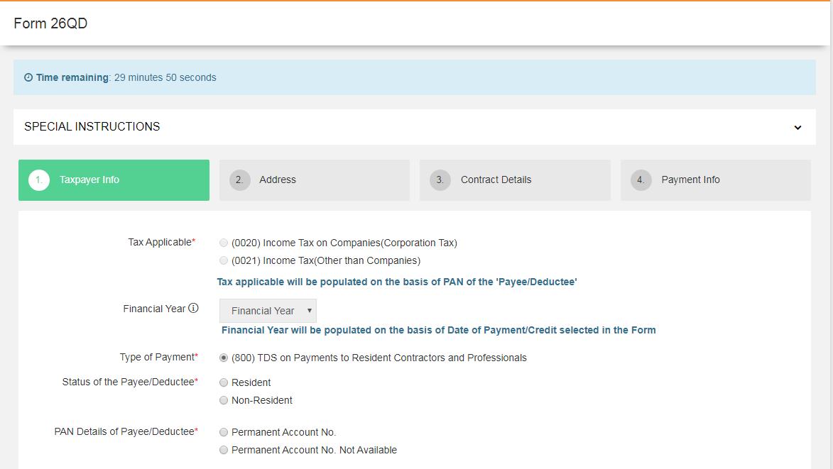 NSDL Portal - Form 26QD Application