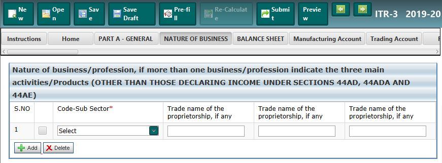 Nature of Business & Profession Code - ITR-3