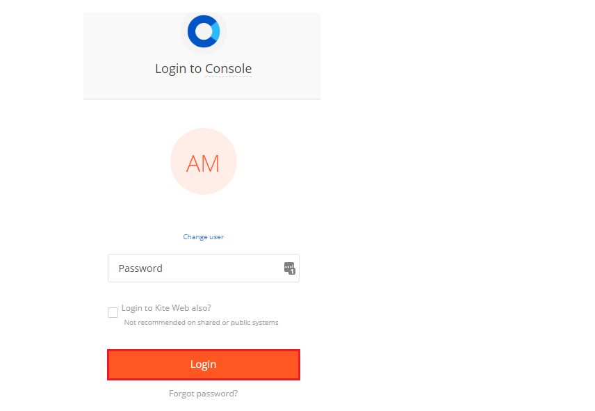 Zerodha Kite Login Page