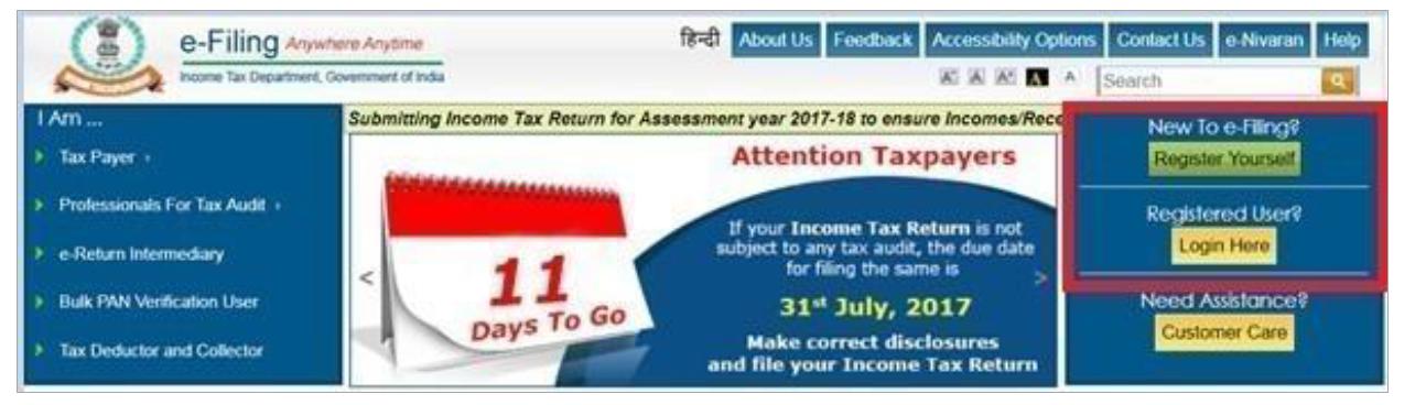 Income Tax Website - Login