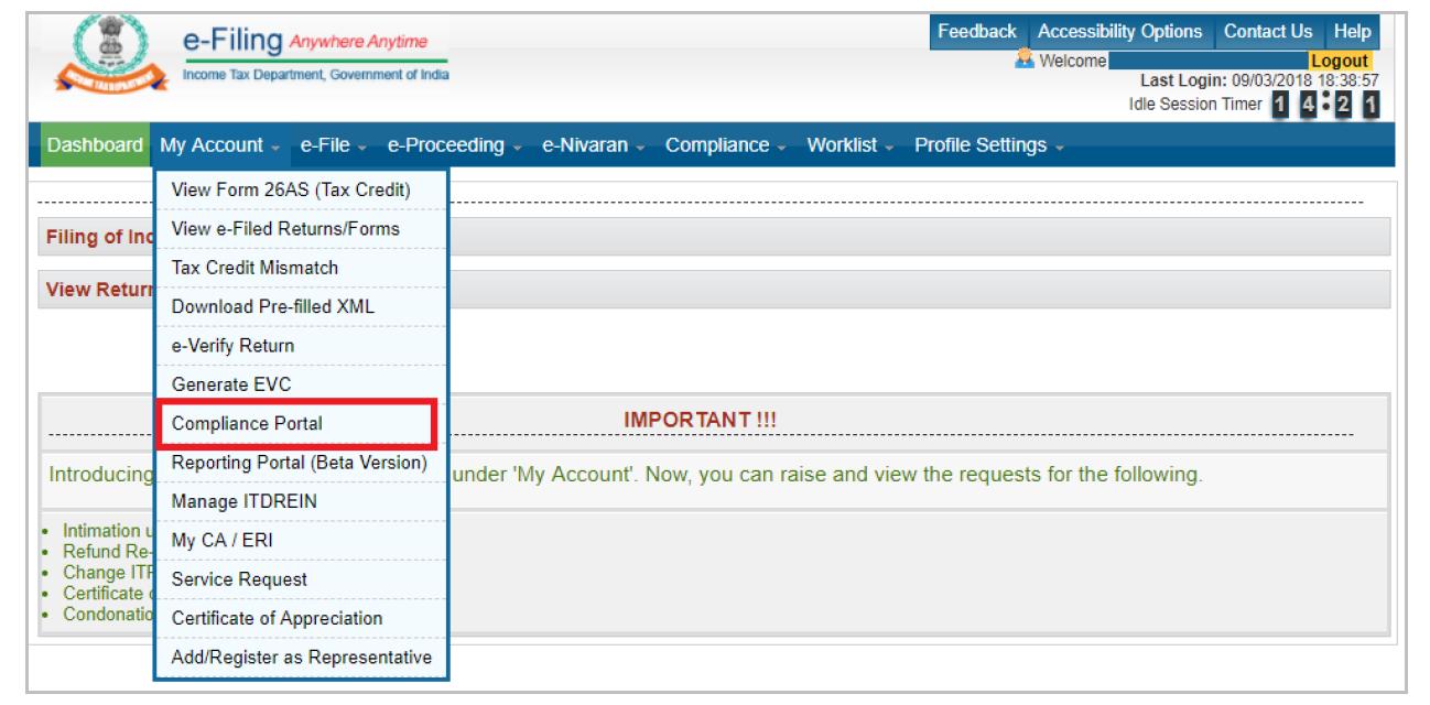Income Tax e-Filing Portal - Dashboard